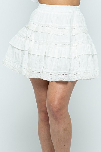 COTTON LACE TRIM RUFFLE SKIRT