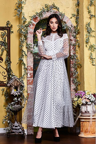 POLKA DOT PRINT LONG SLEEVE SHIRT GOWN