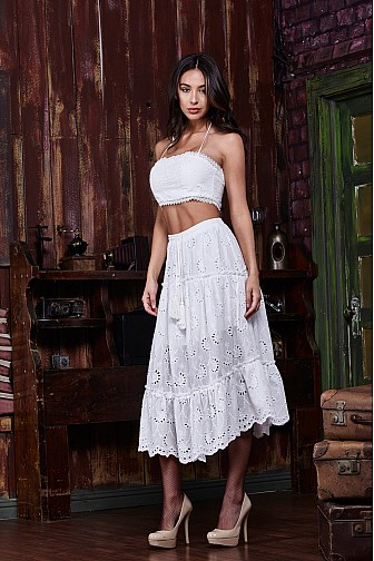 COTTON LACE CROP TOP AND SKIRT SET