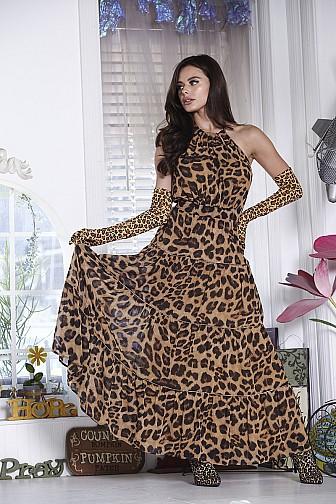 ANIMAL PRINT SLEEVELESS  WAIST BELT HALTER NECK DRESS